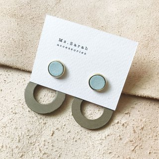 Leather earrings _ ear pin _ round frame 6 works #10_ mint green gray