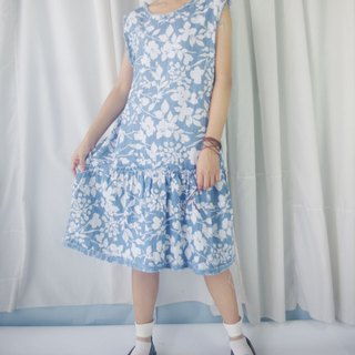 Design hand made - denim blue and white floral print virtual side loose sleeveless dress