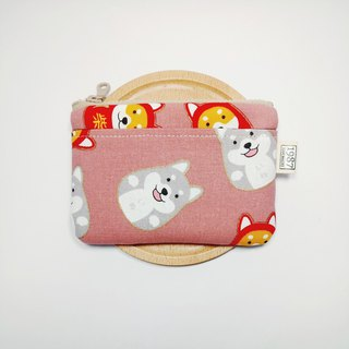 [Fortune firewood - powder] Coin purse clutch bag with zipper bag Christmas exchange gift