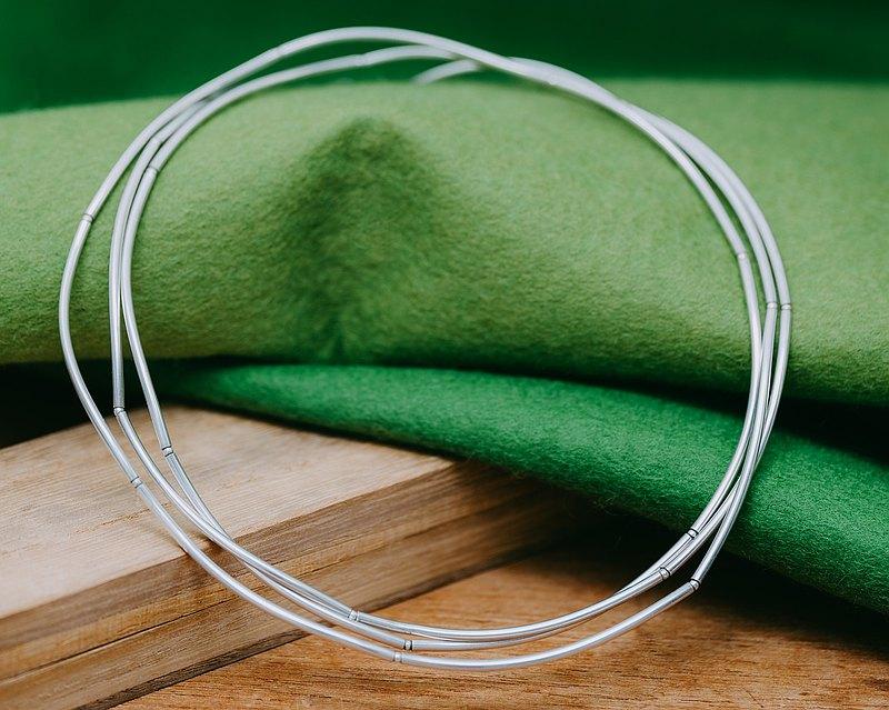 流動項鍊 - 聲明項鍊 - 銀 - 防過敏 - 免費送貨