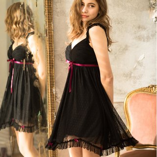 No steel ring pajamas [exclusive 2in1] slightly 恋 love point dot mesh lace dress - dazzling black