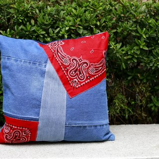 Denim patchwork cushion
