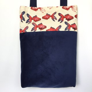 Limited Edition Blue Velvet Goldfish Madness Tote Bag