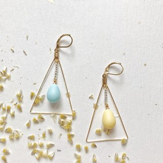 Water drop hit color triangle earrings can change ear clip