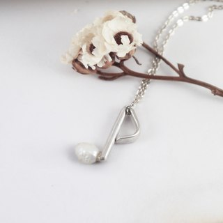 Music Department - Silver Eighth Note - Sterling Silver Pearl Necklace