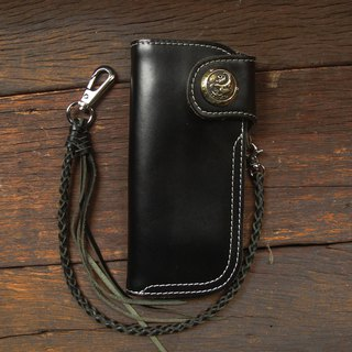 Biker long Wallet chain brass Genuine Leather black Martin swallow anchor Sea