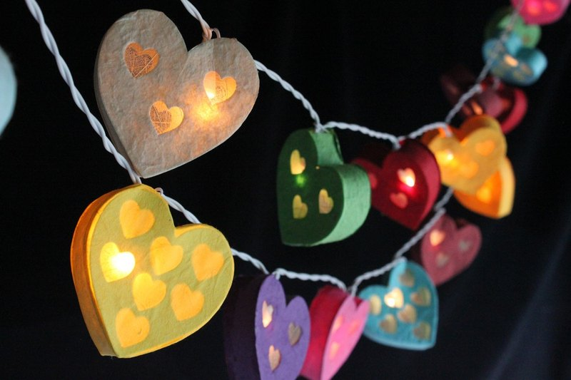 20 Heart Paper lantern String Lights for Home Decoration,Party,Wedding,Bedroom,Patio and Decoration