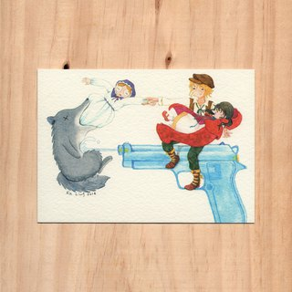 """Hong Kong Toys x Fairy Tales - Water Gun x Little Red Riding Hood"" watercolor illustration postcard"