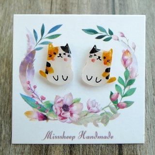Misssheep-U46- Mini Cat - Three-color cat hand-painted cat hand made earrings pair (ear pin / ear clip)