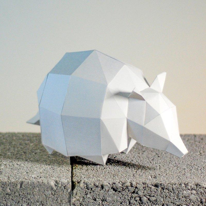 DIY手作3D紙模型擺飾 小動物系列 -犰狳 (4色可選)