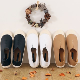 Shell shoes fork fork shape leather lazy shoes black white milk tea color