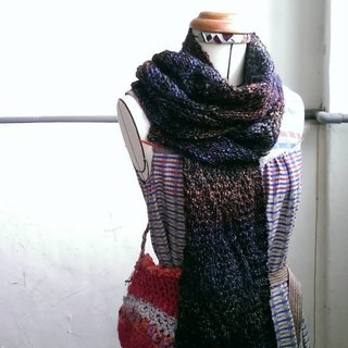 Couple scarves combination (black blue orange reddish brown gradient + gradient)