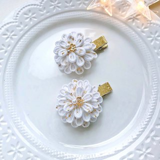 Japanese style and wind cloth flower star mesh collage pearl drill children's hairpin