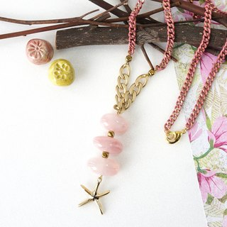 Stacking Pink Rose Quartz Tumbled Stones with Gold Starfish Charm Necklace