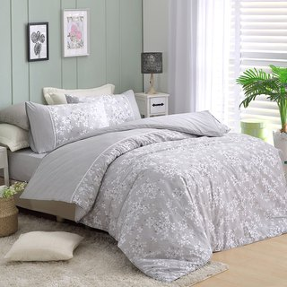 Extra large [Love] small flower bed package】 【 diffuse flower snow (grey) dual-use bedding package four-piece King size