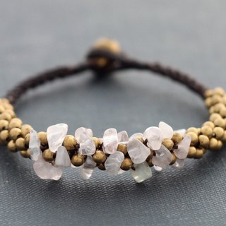 Rose Quartz Woven Bracelets Beaded Braided Chunky Brass Cuff Bangle