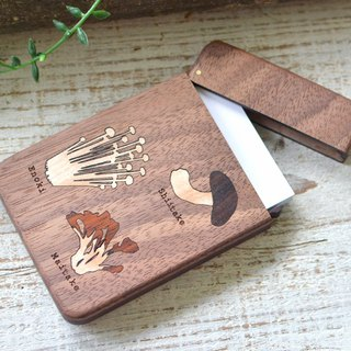 Wooden business card holder / walnut /mushroom