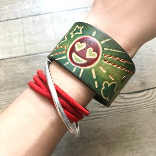 POPO │ light face │ carved leather bracelet │ real leather