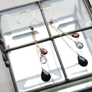 Three kinds of red and black stone chain earrings 14 kgf