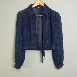 FOAK vintage dark blue lattice skin blouse coat