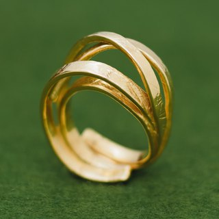 Japanese gold plated ring - Free size ring - Linear band design - Paper chain