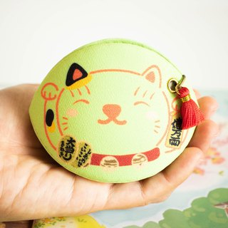 Green Beckoning cat coin purse.lucky charm.Bring academic achievement to owner.