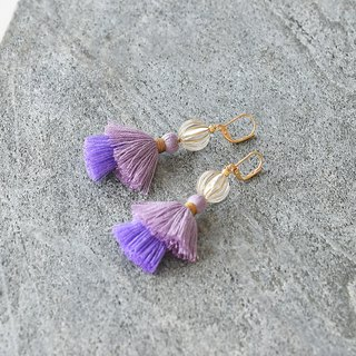 イヤリング/Double tassel earrings /Hydrangea purple