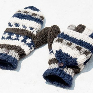 Hand-knitted pure wool knit gloves / detachable gloves / inner bristled gloves / warm gloves - desert sky
