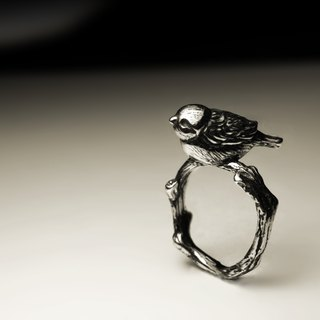 Sparrow branches silver ring