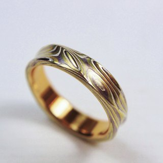 Element47 Jewelry studio~ Karat gold mokume gane wedding ring 16 (18KY / Pd950 /