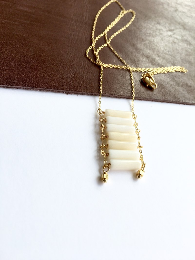Square  Long necklace White jade