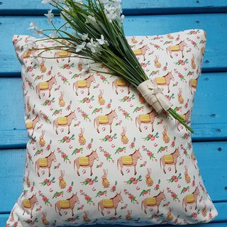 Nordic fresh and lovely rabbit donkey deep pattern pillow / cushion