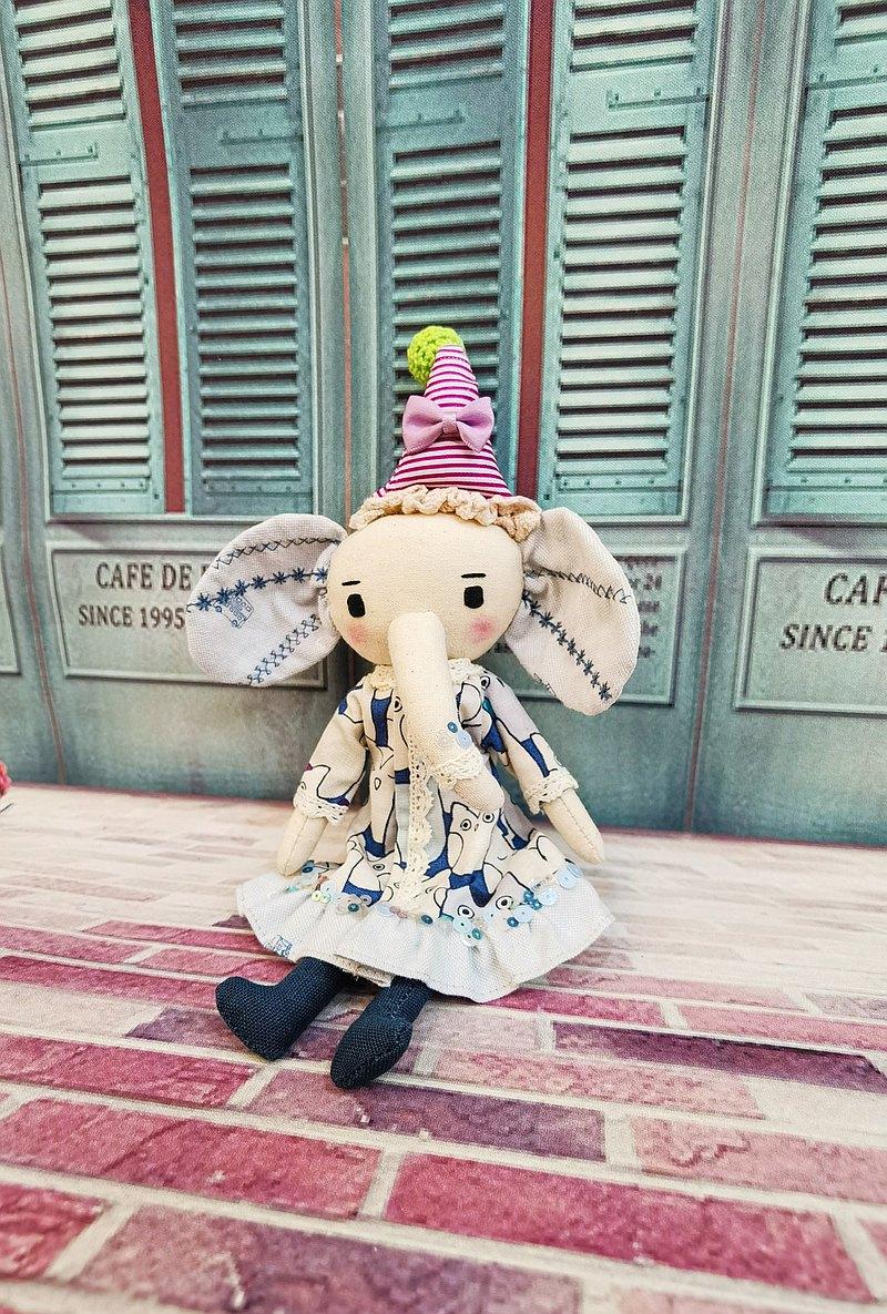 手工大象娃娃-可愛的藍色Elly