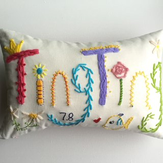 name pillow creative gift - an original design custom handmade wool embroidered pillow -8 letter