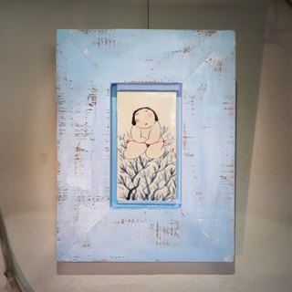 [Pinkoi Sole Sale] Wu Zhongzong - Collector's Porcelain Painting Series - Red Panties (Water Blue Frame)