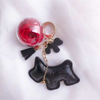 Dog Immortal Flower Charm Black Keychain Valentine's Day Gift New Year's gift