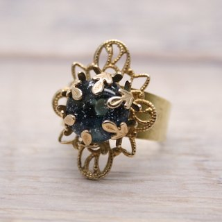 Starry heavens, Brass and glass, Diamond shape ring, Dark Blue, Vintage, Antique