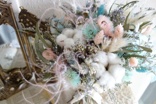 Wedding Floral Series ~ Romantic Pink Blue Bouquet, Wrist Flower, Corsage Group