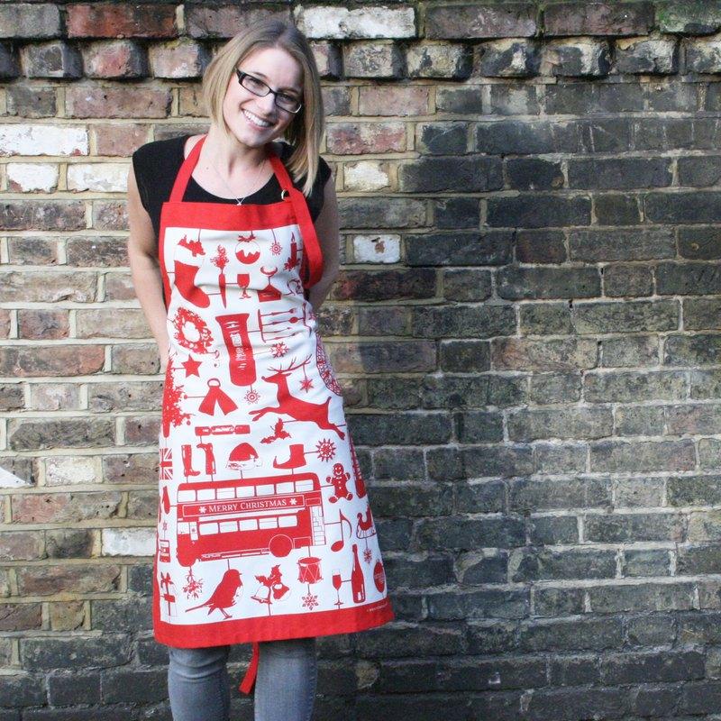 英國蛋 純棉圍裙 模型耶誕節 (紅色)