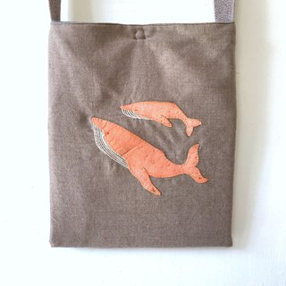 Parent-child seat squid embroidered bag linen color