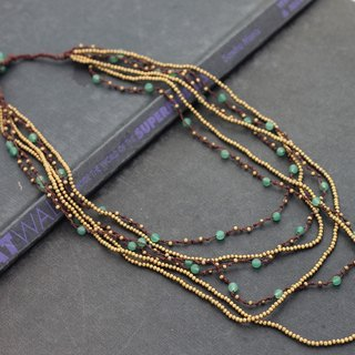 Jade Brass Multi Strand Long Necklaces Six Strand