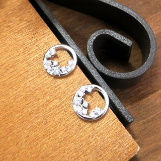 Moon on a garland sterling silver earrings (white K gold models)