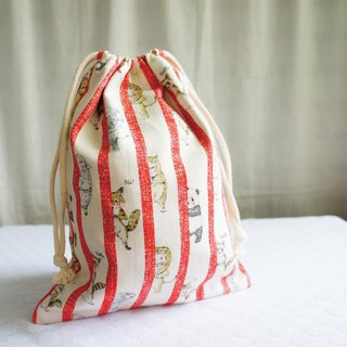Lovely Japanese cloth [animal peekaboo TN notepad hand pocket bag] red, can be loaded with long clips
