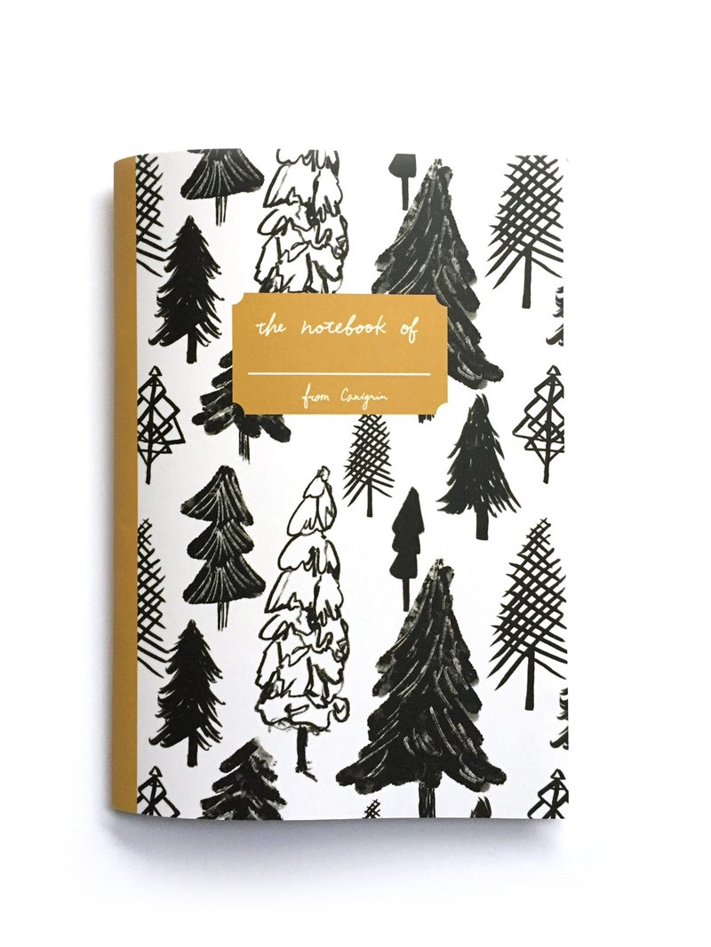 Swiss Alpine chalet view of pine trees, christmas tree A5 Notebook with Black & White Winter Forest Pattern, grid journal Swiss Alpine chalet view of pine trees, christmas tree A5 Notebook with Black & White Winter Forest Pattern, grid journal Swis