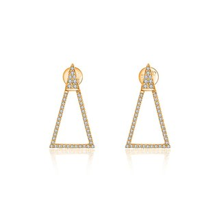 Hollow Isosceles Triangle Diamond Earring