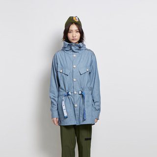 Relax - stand-up hooded thin jacket - light blue