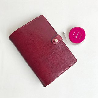 Bambini A6 wine red six-hole loose-leaf leather hand book book notes / custom