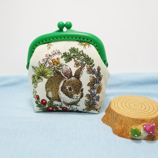 Bunny in the wreath / macarons frosted gold coin purse