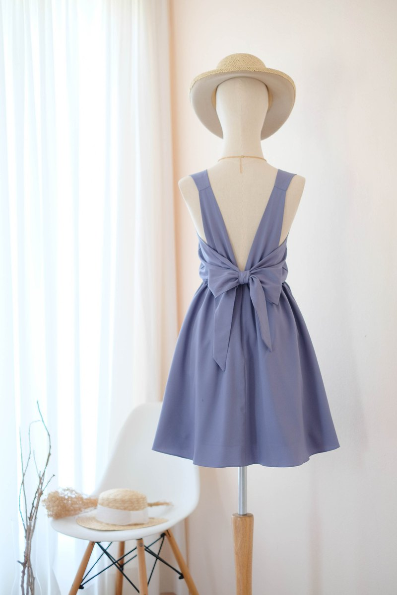 Dusty Blue Dress Bridesmaid連衣裙露背派對雞尾酒短裙