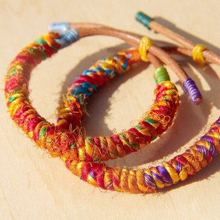 Christmas hand twist sari line leather bracelet hand rope bracelet - Limited sunshine orange (adjustable)
